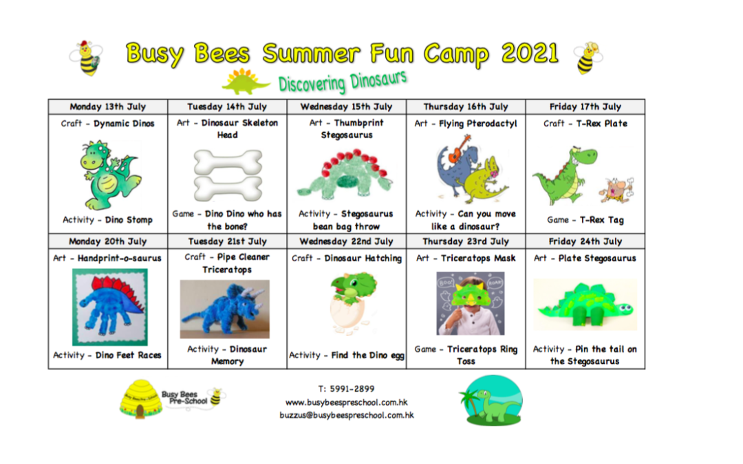 Summer Fun Camp Schedule – Discovering Dinosaurs