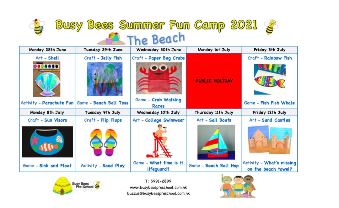 Summer Fun Camp Schedule – The Beach