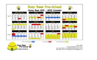 Honey Bees 2021 – 2022 School Calendar