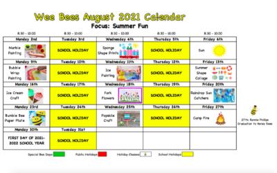 Wee Bees August 2021 – Summer Fun